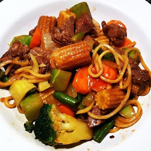 Beef With Chinese Vegetables Over Noodles Get In The